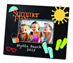 Display fun captions or details about photos shared in our  Chalkboard Magnetic Frame. Change out magnets and photos for the seasons.  Summer Fun, Flip Flop, Sun Magnets and Frame from Embellish Your Story by Roeda.