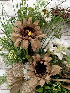 Burlap Summer Wreath for Door Front Door by AdorabellaWreaths