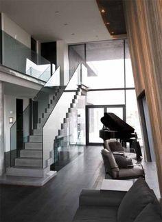 Modern Contemporary House by Gudmundur Jonsson in Iceland - Interior Modern Home Interior Design, Modern Contemporary Homes, Modern House Design, Interior Architecture, Stairs Architecture, Design Interiors, Modern Staircase, Staircase Design, Style At Home