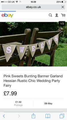 Bunting Pink Sweets, Bunting Banner, Hessian, Candy Buffet, Rustic Chic, Garland, Party, Wedding, Valentines Day Weddings