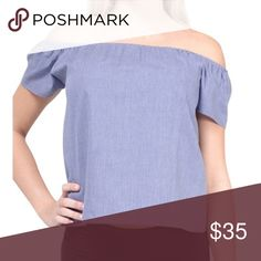 Carmine Off the Shoulder Top The Carmine Off the Shoulder Top from LA brand Atid Clothing.  Made in Los Angeles.  100% cotton chambray.  Perfect lightweight summer top. Sizes XS-L available soon! Tag or like for notification when it arrives! Atid Clothing Tops Blouses