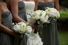 All white peony bouquet, romantic.  Bayou Bend, Houston // Mary Beth Events // Cameron & Kelly Photography // poseyevents.com
