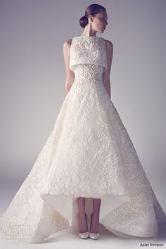 ashi studio couture 2015 sleeveless bateau neckline embroidery a line white wedding dress