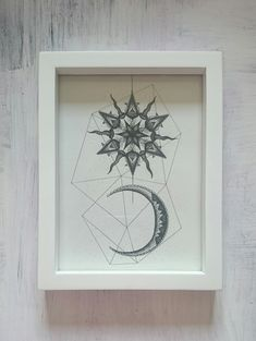 Stippled Sun and Moon Print Approx by thedottedgrotto on Etsy Moon Print, Stippling, Really Cool Stuff, Craft Supplies, Balloons, Sun, Unique Jewelry, Frame, Handmade Gifts