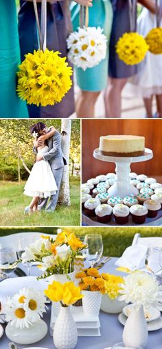 I'm no fan of yellow, but this is an adorably bright wedding! Love it!