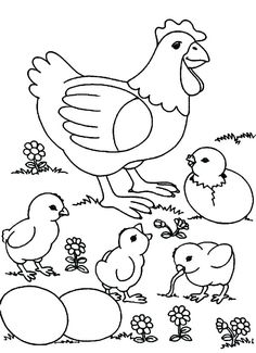Funny Chicken Coloring Pages - Free Coloring Sheets Chicken Coloring Pages, Farm Animal Coloring Pages, Coloring Sheets For Kids, Coloring Pages For Girls, Coloring Pages To Print, Free Coloring Pages, Printable Coloring Pages, Coloring Book Pages, Kids Coloring