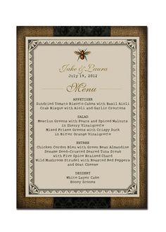 """Menu 5x7"""" Rustic Burlap Bee Vintage Menu Design Rustic Wedding Menu Vintage Shower Menu Party Menu - Mia Collection"""