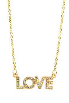 """Love"" Sparkle Block Necklace"