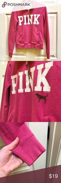 VS PINK Half-Zip Sweatshirt Worn and loved. I never wear it anymore because pink is no longer my favorite color in the world. Has a front pocket by the way   PSSST: secret, if you take a gold metallic sharpie, you can color over the dog logo when it fades and it looks just like it did when it was brand new PINK Victoria's Secret Tops Sweatshirts & Hoodies