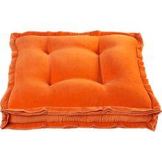 velvet orange 23 floor pillow in pillows | CB2