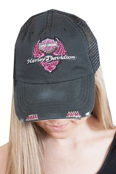 Black Harley Davidson with pink Swarovski crystals