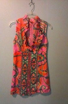 Vintage 60s JR.  MOD Paisley  Silk Wiggle  1 of kind Dress sz 3/4 Raw Silk HIPPY #Handmade