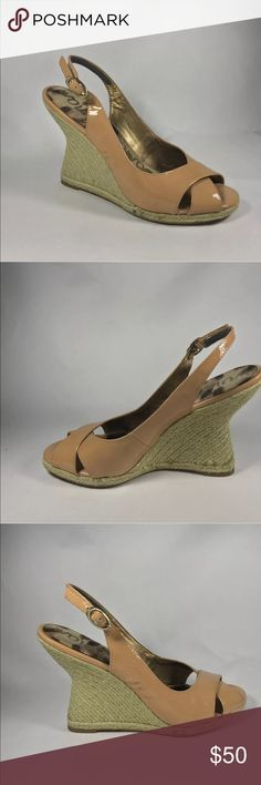 """Sam Edelman Adriana patent leather wedge sandal Sam Edelman  Size 8.5 Style name is Arianna Nude patent leather  Slingbacks espadrille wedges   Heels are 4""""  Good, pre-owned condition. Some minor discoloration from normal use (see photos) 100% authentic Sam Edelman Shoes Espadrilles"""