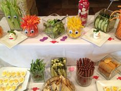 Healthy party food.  Put craft eyes on your jars to make look like monsters.