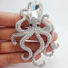 $12.47 - Pretty Octopus Clear Rhinestone Crystal Silver-Tone Brooch Pins Pendant #ebay #Fashion