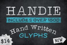 Handy Fonts is a collection of hand written fonts that are basic and simple to read, even at smaller sizes. The collection includes a variety of widths and weights in both serif and sans