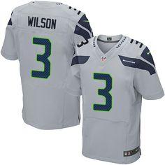 Men's Nike Seattle Seahawks #3 Russell Wilson Elite Grey Alternate NFL Jersey