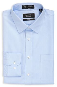 Nordstrom Men's Shop Smartcare™ Trim Fit Herringbone Dress Shirt available at #Nordstrom
