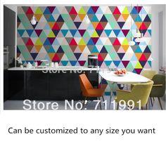 Custom 3D wallpaper,color geometric triangular pattern for living room bedroom kitchen restaurant wall embossed papel de parede