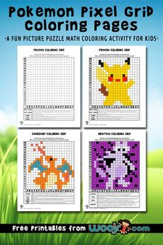 Pokemon Pixel Grid Coloring Pages Mystery Pictures