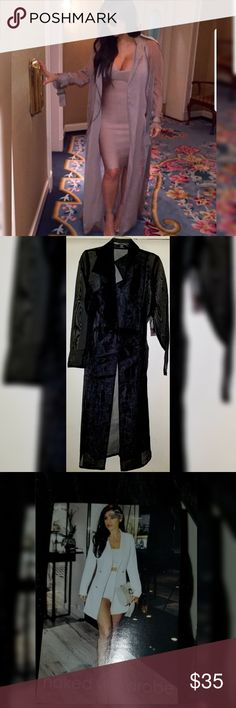 """Black sheer trenchcoat Brand: Naked Wardrobe  Beautiful trenchcoat great for a night out  Belt included  Length is 50""""  100% polyester Naked Wardrobe Jackets & Coats Trench Coats"""