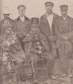 King Moshoeshoe of the Basotho with his ministers. The Basotho are a Bantu ethnic group whose ancestors have lived in southern Africa since around the fifth century. African Men, African American History, South African Tribes, Union Of South Africa, All About Africa, African Royalty, By Any Means Necessary, African Diaspora, My Black Is Beautiful