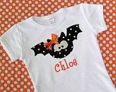 Personalized Halloween  Bat Shirt  for girls and boys... long or short sleeve