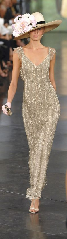 Ralph Lauren ~ Metallic Embellished Fitted Full Length Gown 2008