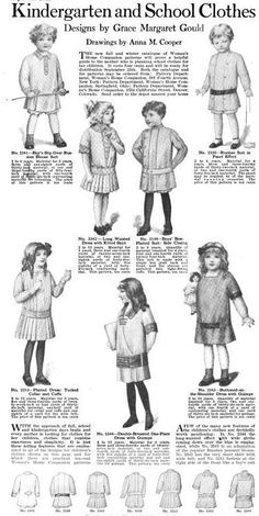 3923537bd3782 Womans Home Companiong September 1913 Kindergarten and school clothes for  up to 12 year olds. Corsetra · Childrens clothes 1910-1915