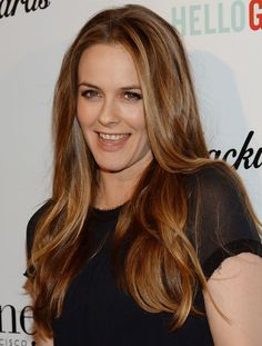 Celebrity Hair Color Inspiration: Alicia Silverstone's Perfect Golden Highlights: Girls in the Beauty Department: glamour.com
