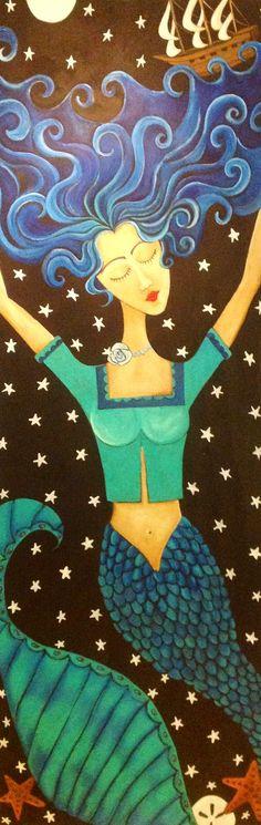 A Pirate Life folk art mermaid daughtersofrose@gmail.com
