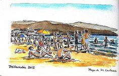 Playa de las Canteras. Watercolour. Urban Sketch.