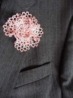 Tatting Flower Boutonniere Salmon Pink with beads by ShopGift