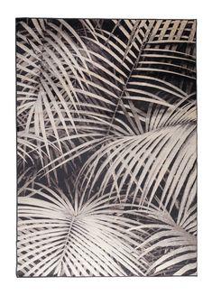 Zuiver+-+Palm+by+Night+Tæppe+240x170+-+Sort+-+Dette+sorte+Palm+by+Night+tæppe+har+et+mønster+af+lyse+palmeblade,+hvilket+følger+boligtendensen+omkring+botanik+i+hjemmet.+Det+er+Zuiver+som+står+bag+tæppets+design.+Guvltæppet+er+vævet+på+maskine+og+er+i+et+syntetisk+materiale.+Et+tæppe+kan+være+med+til,+at+skabe+en+hyggelig+stemning+i+hjemmet.+Dette+tæppe+vil+gøre+sig+godt+i+et+lyst+rum,+grundet+dets+mørke+farve.