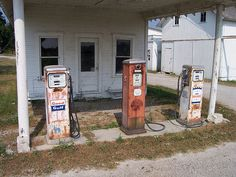 Three Old Gas Pumps at what is known as Klingel's Corner located at SR 98 and Newmans-Cardington Rd north of Waldo.