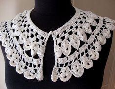 Vintage Off White Cotton Crochet Collar Crochet Lace Neckline Embellishment Vintage Lace for Vintage Wedding S119