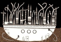 """Imagem 3 de 6 da galeria de Ilustrações das """"Cidades Invisíveis"""" de Italo Calvino. Despina. Image © Karina Puente Frantzen"""