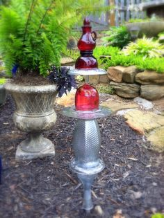 Upcycled Clear Glass Garden Totem By GardensAndCrafts On Etsy, $22.00 |  Glass Plate Flowers Etc. For Home/Garden Decor | Pinterest | Gardens,  Totems And ...