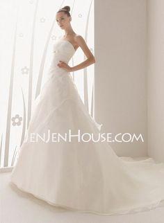 Wedding Dresses - A-Line/Princess Strapless Chapel Train Organza  Satin Wedding Dresses With Ruffle  Beadwork (002001262) http://jenjenhouse.com/A-line-Princess-Strapless-Chapel-Train-Organza--Satin-Wedding-Dresses-With-Ruffle--Beadwork-002001262-g1262 189.99