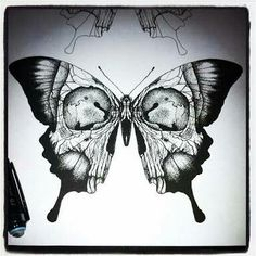 Awesome butterfly skull tattoo idea