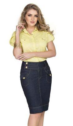 - Saia Chanel - Row-an Jean Skirt, Denim Skirt, Denim Jeans, Skinny Jeans, Jeans Dress, Dress Skirt, Vestidos Plus Size, She's A Lady, Moda Plus Size