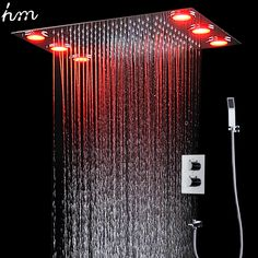 Modern 304 SUS Ceiling Rainfall Shower Set Electric LED Shower Head Bathroom Accessories Auto-Thermostat Shower Faucets Set