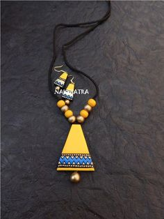 Jewelry OFF! Yellow And Blue Color Terracotta Necklace Set – Jumkey Fashion Jewellery Funky Jewelry, Handmade Jewelry Designs, Fabric Jewelry, Jewelry Crafts, Handmade Jewellery, Terracotta Jewellery Making, Terracotta Jewellery Designs, Teracotta Jewellery, Diamond Cross Necklaces