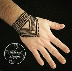 henna for men - hand - geometric style, linear design - menna - art by Wishcraft Designs