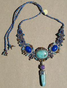 Chrysacolla Lapis Big Pendant Macrame Necklace