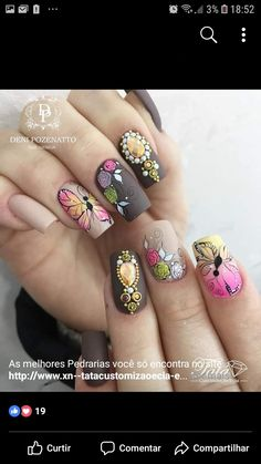 Trendy Nail Art, Cute Nail Art, Easy Nail Art, Autumn Nails, Spring Nails, Gorgeous Nails, Pretty Nails, Bella Nails, Butterfly Nail