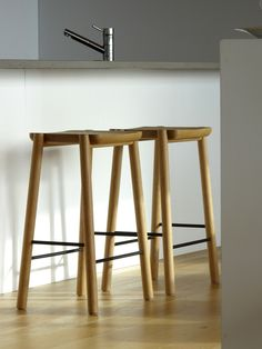 White oak stools by Eveline Simard for COOP ÉTABLI
