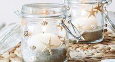 4 idées déco avec des souvenirs de la plage Origami, Candle Holders, Diy, Candles, Carnival, Seashell Mobile, Linen Fabric, Glass Jars, Jar Candle