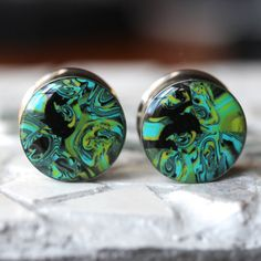 3/4 Ear Plugs Green Gauges OOAK Ear Plugs Unique by FashionPlugs, $29.00