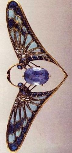 Falize sapphire butterfly Art Nouveau - pendant: